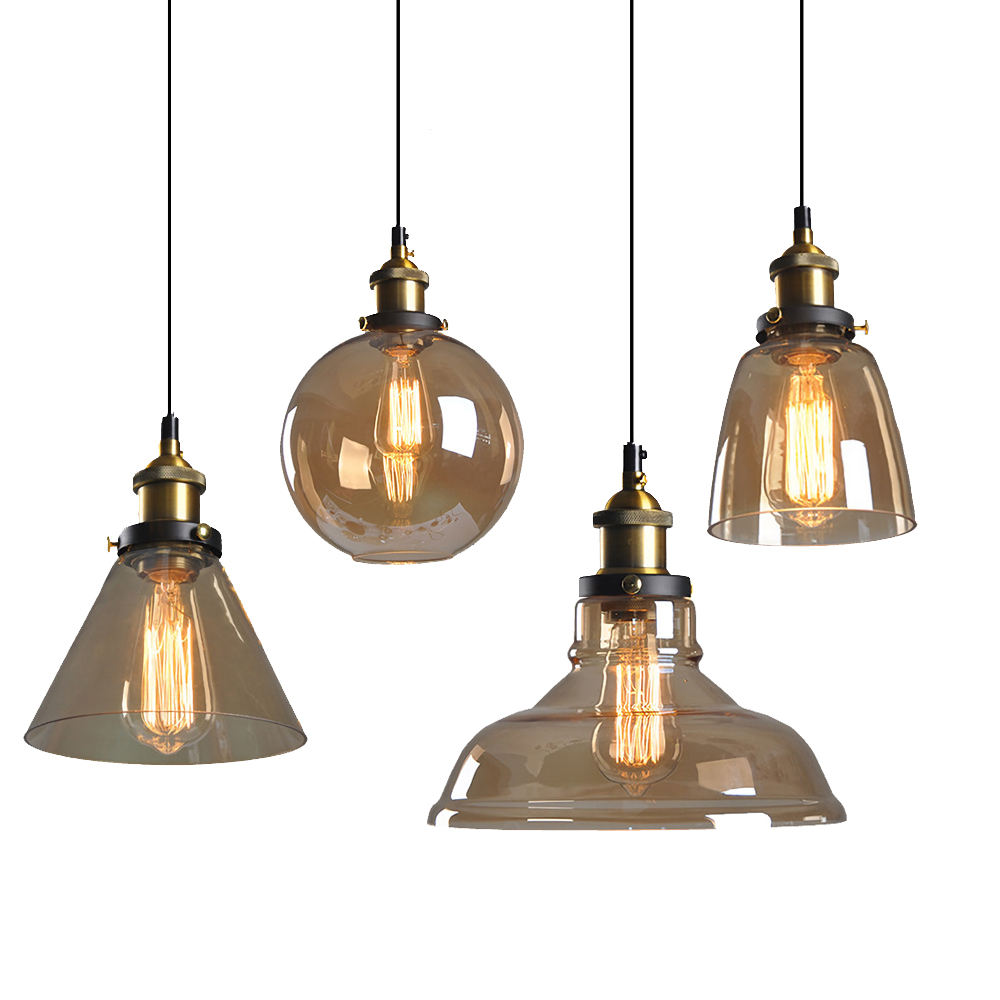 Modern Pendant Lights American Amber Glass Ball Pendant Lamp E27 Edison Light Bulb Dinning Room Kitchen Home Decor Simple Lamp