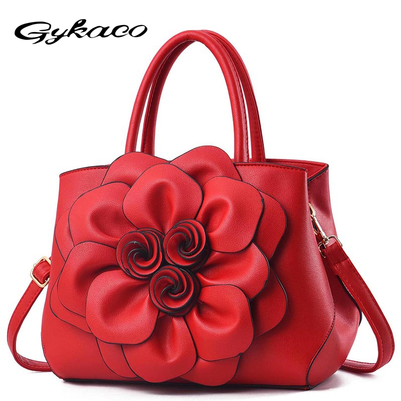 Gykaeo Luxury Handbags Women Bags Designer PU Leather Floral Tote Bag Ladies Casual Flower Messenger Shoulder Bags Bolsos Mujer pu leather front zip floral shoulder bag