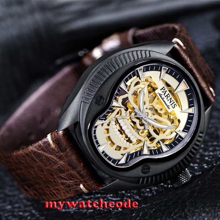 40mm Parnis skele dial Sapphire glass PVD case Miyota automatic mens watch P710 japan miyota 40mm pvd case parnis men s watch
