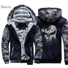 Super Hero  Skull Hoodie Men Hip Hop Hooded Sweatshirt Coat Winter Thick Fleece Warm Swag Cool Jacket Streetwear