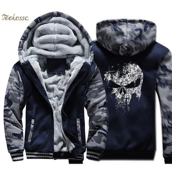 Super Hero Skull Hoodie Men Hip Hop Hooded Sweatshirt Coat Winter Thick Fleece Warm Swag Cool