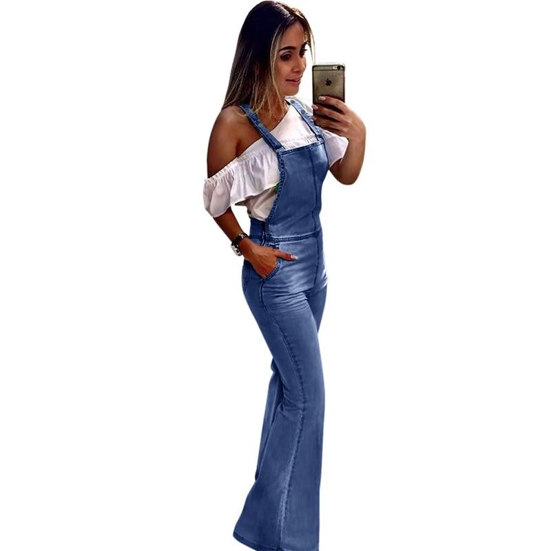 Spring Summer Wide Leg Denim Overalls Jumpsuit For Women Elegant Female High Waist Bell Bottom Jeans Jumpsuits Plus Size