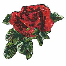 2pc Sew On Rose Flower Sequin Patch Flowers Applique Beaded Patches For Clothing Bag Appliques Parches Bordados 23x16cm AC1231