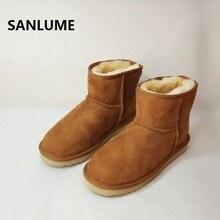 SANLUME las mujeres invierno piel de oveja botas de nieve 100% piel de  oveja Real 707780bacf06