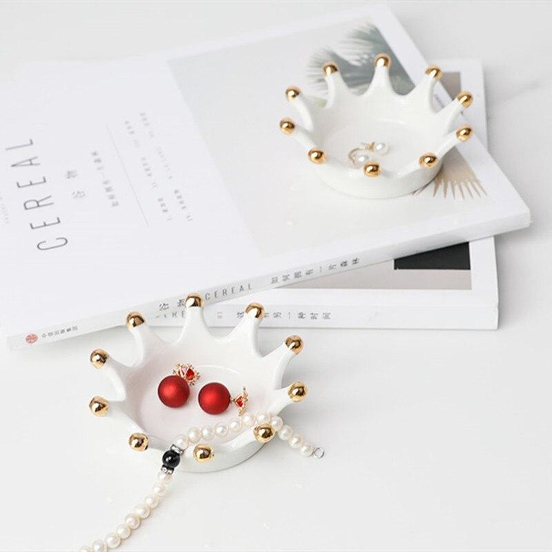 JO LIFE Home Decor Sundries Key Ceramic Storage Tray Creative Nordic Style Crown Jewelry