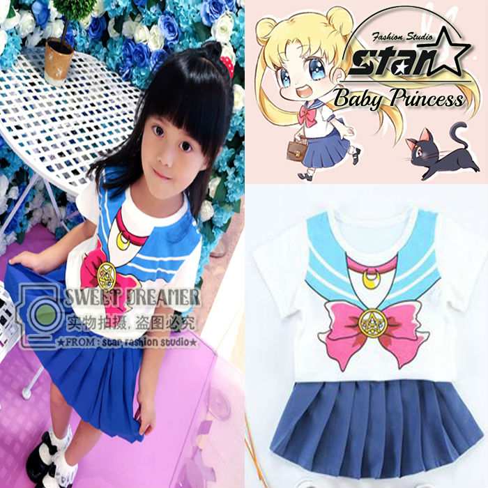 New Anime Baby Girls Pretty Soldier Sailor Moon Cosplay Costume Princess Halloween for Children Kids Sailor School Uniform Dress sosw fashion anime theme death note cosplay notebook new school large writing journal 20 5cm 14 5cm