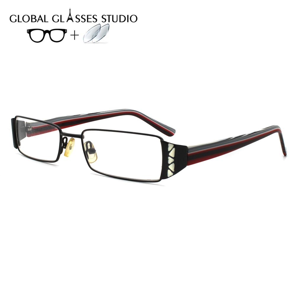 Men Or Women Metal  Glasses Frame Eyewear Eyeglasses Reading Myopia Prescription Lens 1.56 Index A410 Black(China)