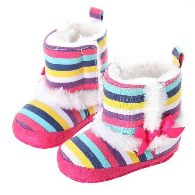 Hot Sale Thick Baby Winter Snow Boots Rainbow Stripes Warm Baby Toddler  Footwear Shoes Kids Boots aff74d132
