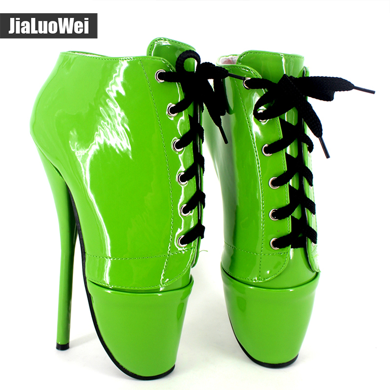 Women 7 Spike High Heel BALLET Boots Canvas+PU Leather Sexy Fetish Boots Lace-Up Pointed Toe Nightclub Dance Party Shoes pu leather panel lace up flare coat
