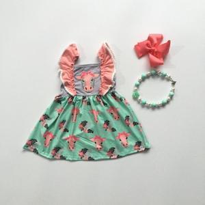 Image 1 - 女の赤ちゃん春夏ドレス牛ヘッドトップグリーンドレス女の赤ちゃん服ブティックドレス弓とネックレス