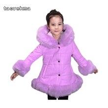Зимние меховые теплые спортивные пуховики и парки для девочек, стеганые пальто, утепленная куртка из искусственной кожи в стиле пэчворк с воротником из искусственного меха лисы, верхняя одежда, W57