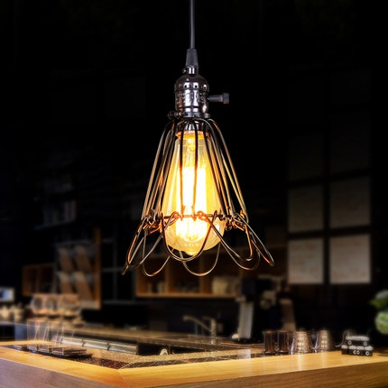 Simple Loft Style Iron Cage Droplight Industrial Edison Vintage Pendant Lamp Dining Room Hanging Light Fixtures Indoor Lighting american loft style hemp rope droplight edison vintage pendant light fixtures for dining room hanging lamp indoor lighting