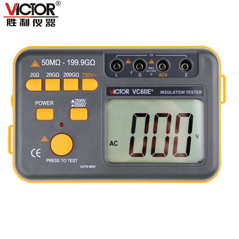 Victor VC60E+ Digital Insulation Resistance Tester Megger MegOhm Meter DC/AC 50M ohm-199.9G ohm mastech ms5201 digital insulation resistance tester megger megometro mega ohm sound and light alarm genuine