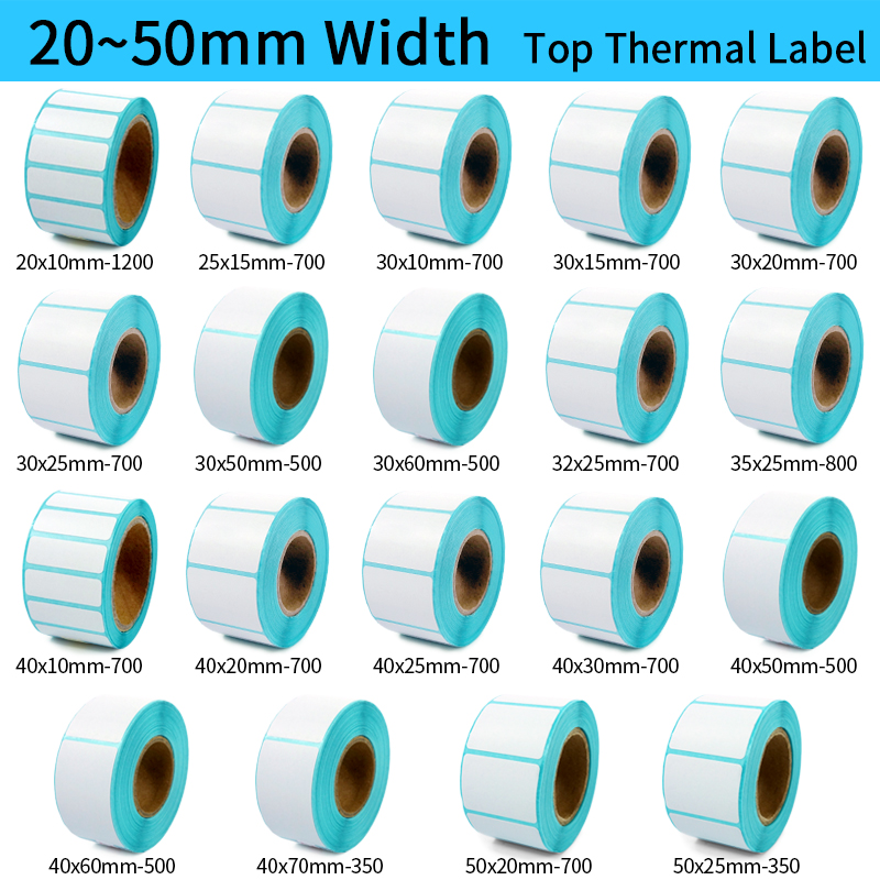 Thermal Label Barcode Sticker, 40mm Core, 1 Roll , Width 20mm ~50mm, Top Thermal Paper Adhesive Stickers Zebra Godex Compatible