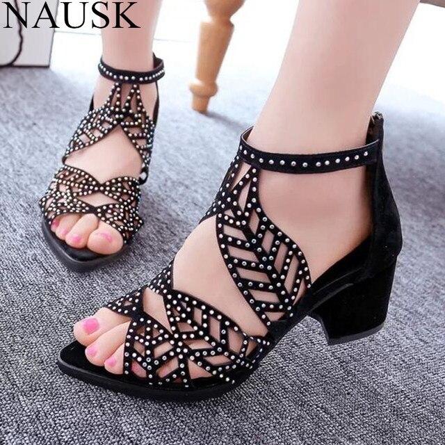 4afe172f17c7 € 10.04 10% de DESCUENTO|Sandalias de Mujer con flecos de 5 cm de tacón  alto con diamantes de tacón cuadrado de verano zapatos de boda zapatos de  ...