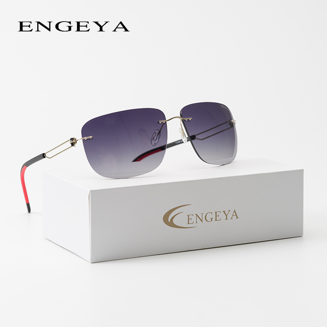 2fa1a5d59ac ENGEYA High Quality Metal Luxury Brand Men Sunglasses Polaroid lenses UV400  Square Designer Driving Rimless Sun Glasses  T11008
