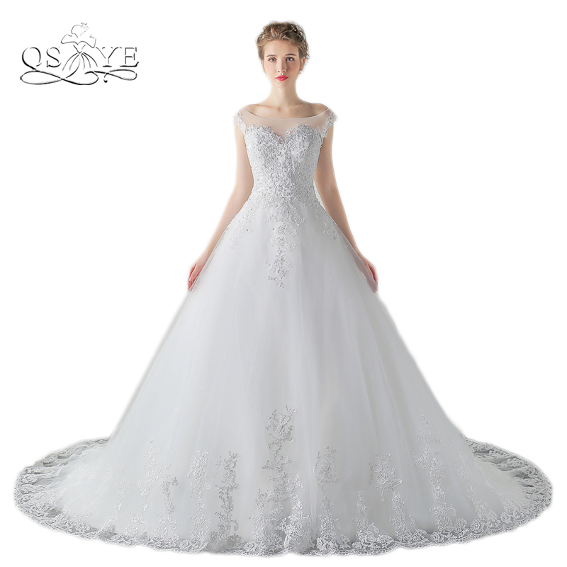 New Fashion High Quality Lace Wedding Dresses 2017 Plus Size A line Sheer Sweetheart Beaded Appliques Bridal Gown Custom Made