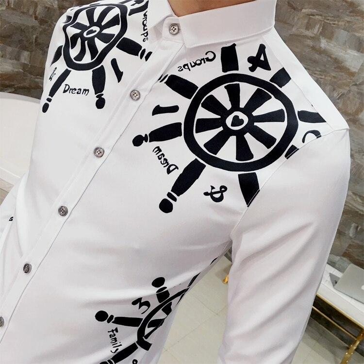2017 Рубашка с Золотой Печати Черный Белый Свадьбу Рубашки М-2xl Slim Fit Дизайнер Рубашка Camisetas Hombre Рубашке Homme