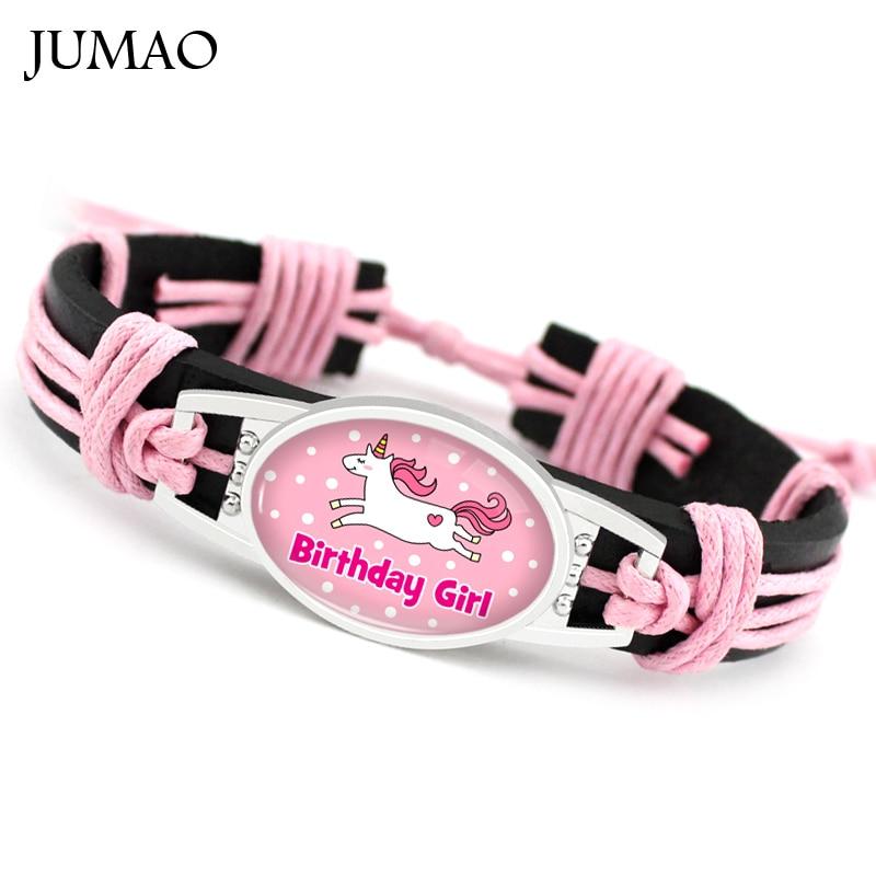 Unicorn Glass Cabochon Leather Bracelets Bangles Cuff For Women Men Girl Gift