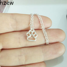 hzew Dainty Puppy Paw Print Lover Memorial Pet Necklaces Dog Paw Print Pendant Necklace Hunter Christmas Gift Lead Free(China)