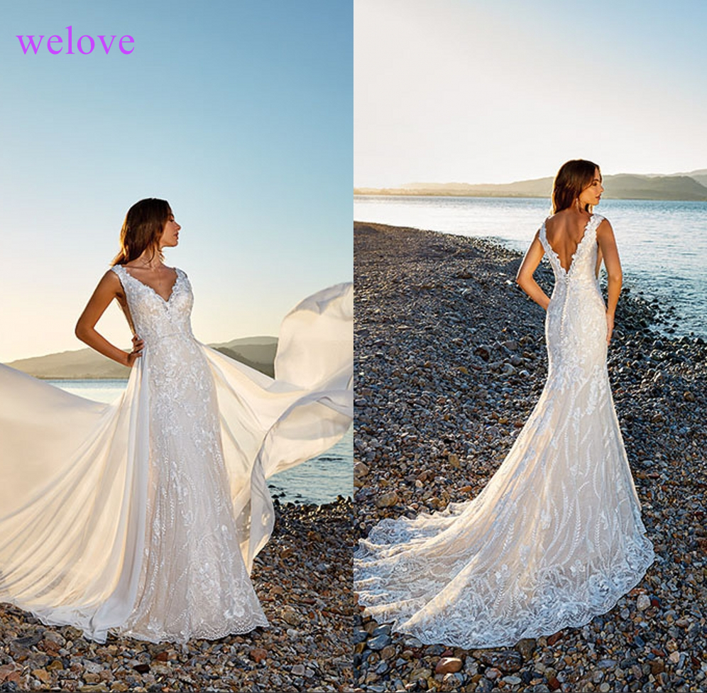 Vestige De Noiva New arrival Sexy Backless Lace beach Wedding Dresses2019Mermaid Lace Appliqued Boho Bridal Gowns