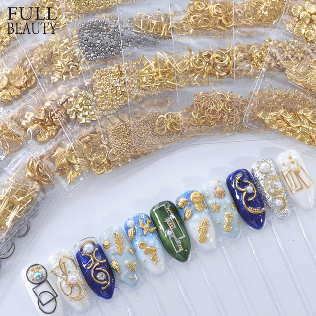 1 Pack Mixed 3D DIY Hollow Metal Frame Nail Art Decorations Gold Rivet Manicure Accessories DIY Shell Slider Nail Studs CH698