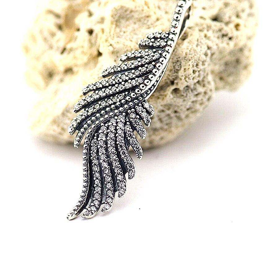 Fandole véritable 925 Sterling-argent-bijoux colliers pour femmes majestueuses plumes argent pendentif avec CZ clair et 70 cm chaîne