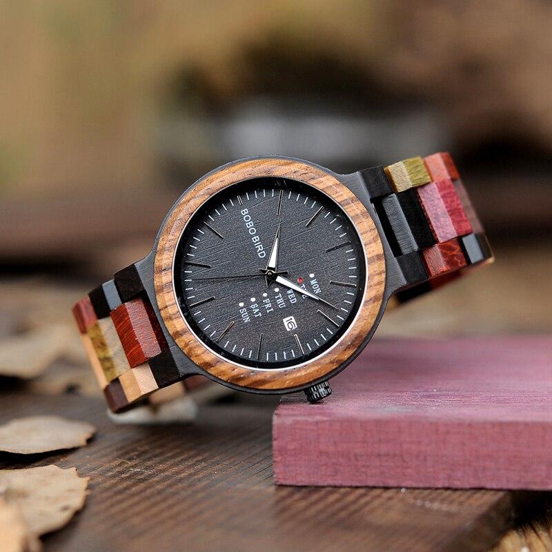 BOBO BIRD Watches Men Bamboo Wooden Watch Male relogio masculino Show date Wristwatch Quartz Gift in
