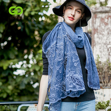 GOPLUS 2019 New Spring Winter Lace Scarf Women Cotton Patchwork Embroide luxury shawls hijab Vintage silk scarves Female bandana