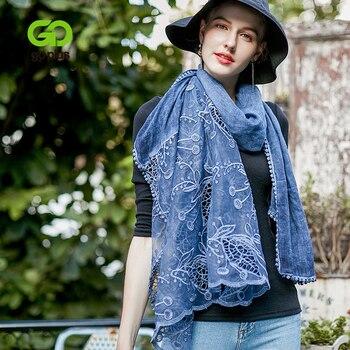 GOPLUS 2019 Nuova Primavera Del Merletto di Inverno Della Sciarpa del Cotone Delle Donne Patchwork Embroide di lusso scialli hijab sciarpe di seta Vintage Femminile bandana