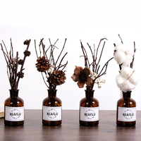 Brand New Fashion Artificial Flower Natural Plant Dried With Small Brown Bottle Home Coffee Shop Wedding