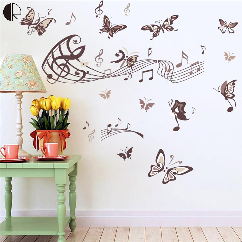 creative home decor butterfly music note wall stickers removable pvc wall art decoration music wall decals - Music Wall Decor