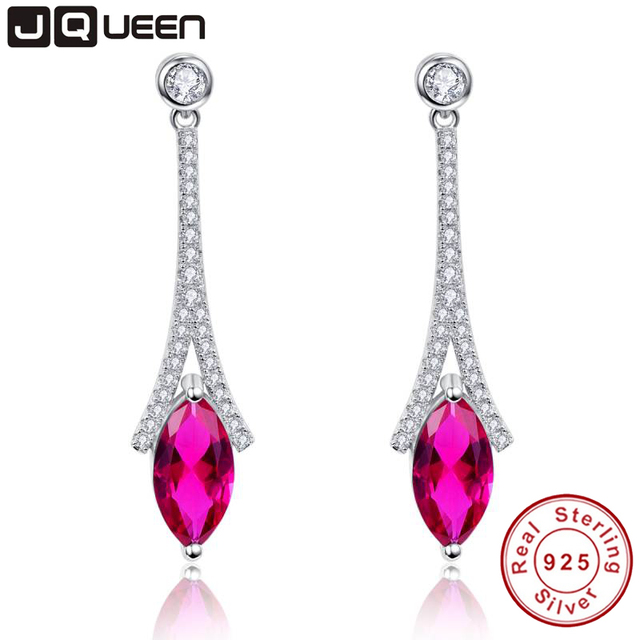Eiffel Tower Silver 925 Jewelry Earring Ruby Marquise Feather Inlay Pear Shape Solid 925 Sterling Silver Long Earrings