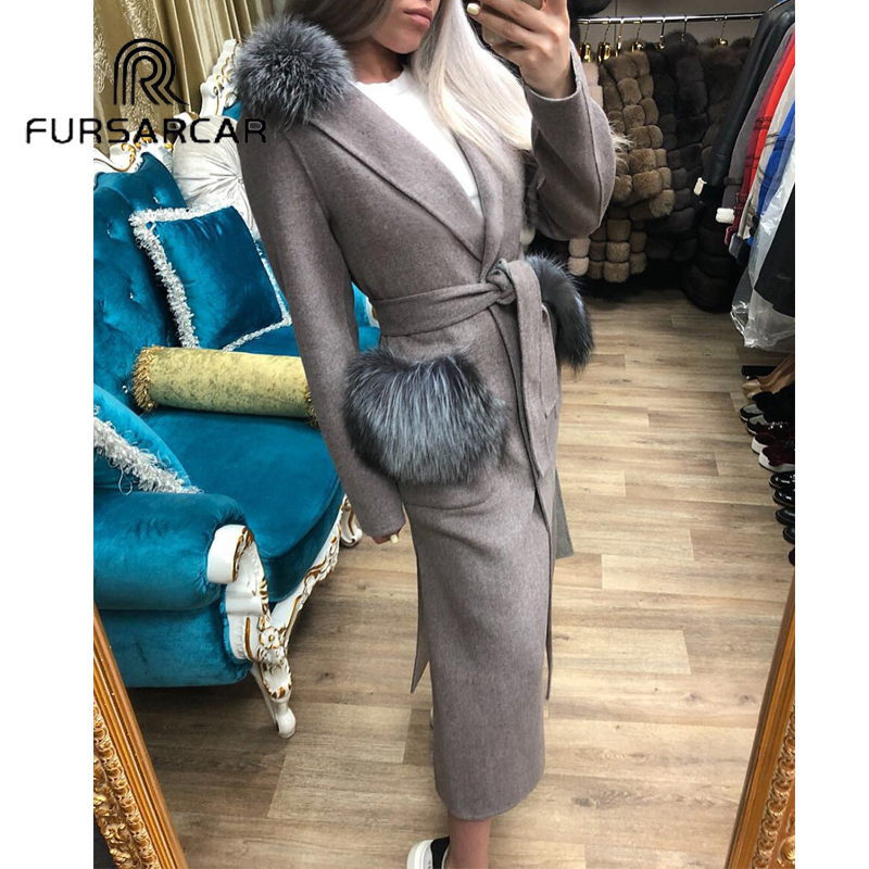 8af27324d FURSARCAR Real Fur Coat Women Winter Luxury Woolen Skin Fur Coat With Silver  Fox Fur Collar 120 CM Long Whole Skin Fur Coat