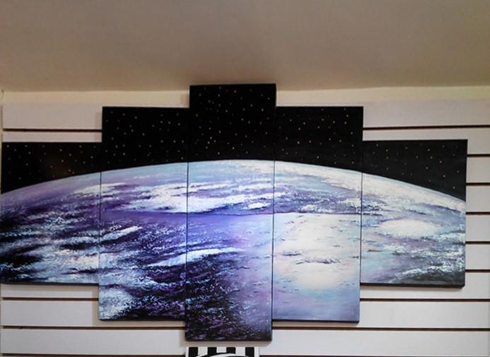 ручная роспись карт земля из космоса, большой ручной работы картина маслом современных холст стены книги по искусству, бесплатная доставка по всему миру ды-157