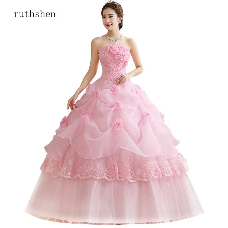 ruthshen Ball Gown Sweet Pink Vestidos De 15 Flowers Cheap Quinceanera Gowns Sweet 16 Debutante Dresses