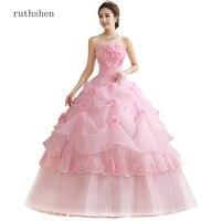 ruthshen Ball Gown Sweet Pink Vestidos De 15 Flowers Cheap Quinceanera Gowns Sweet 16 Debutante Dresses 2019 Robe De Bal