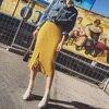 Han Edition Of New Winter Skirts Long Elastic Waist Side Split Knitted Dress