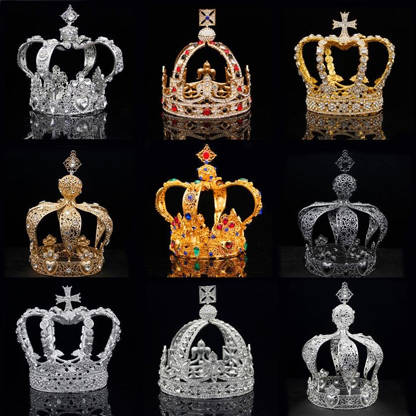 Royal queen tiaras coroa de noiva masculina, diadema redondo, tiaras e coroas, enfeite de baile, casamento, jóias de festa, ornamentos