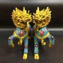 A pair Chinese Antique Perfect Cloisonne handmade Kirin statue Home decoration jen safrey a perfect pair