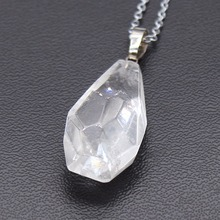 100-Unique 1 Pcs Silver Plated Irregular Shape Section Natural Rock Crystal Pendant Necklace Meditation Jewelry 1 pcs 100