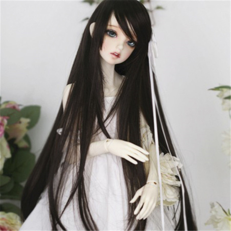 Allaosifydoll accessories 1/3 1/4 Bjd wig doll hair wig long straight oblique bangs woman girl female retro high temperature short straight oblique bang synthetic capless wig