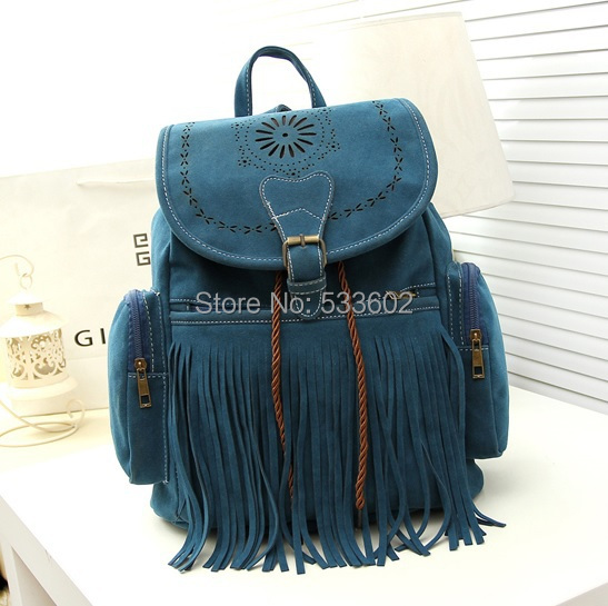 Tassel Backpack Vintage Drawstring Suede Leather Backpack Bags for women mochila feminina Women backpack Fringe suede bag-in Backpacks from Luggage & Bags    1