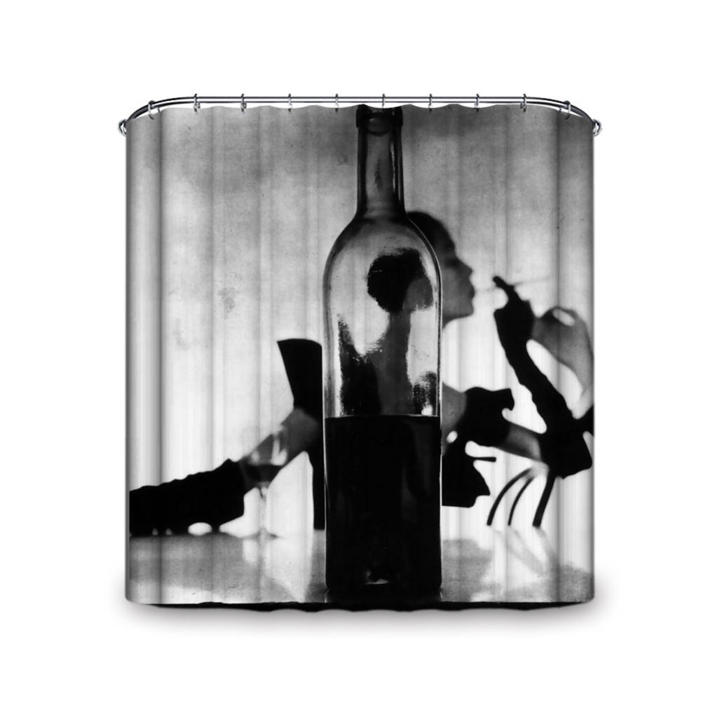Wine Bottle Cool Woman Strong Visual Effect Black Shower Curtain Modernism Painting Waterproof Fabric Shower Curtain for Bath