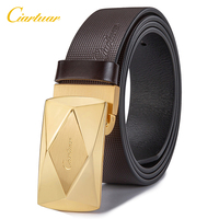 Ciartuar Leather Belts for Men High Quality Luxury Trouser belt Casual Genuine Leather Belt Male Gold Silver Wide Business Strap
