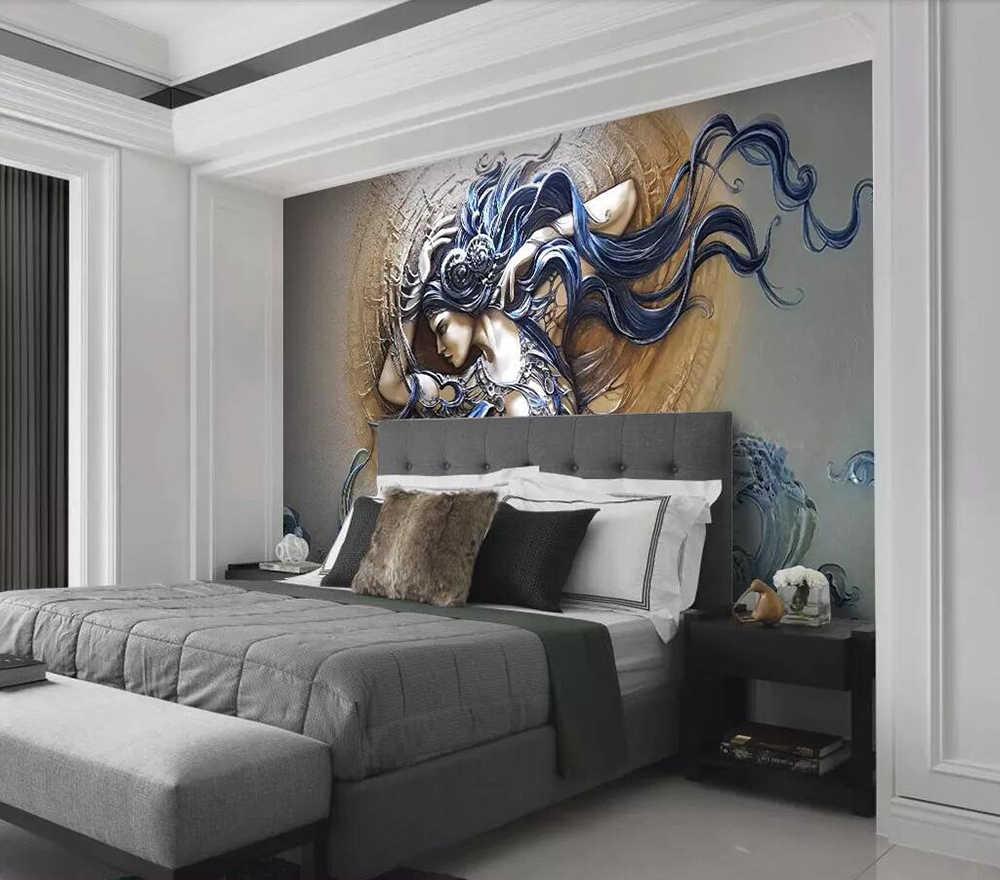 Dekoracyjne tapety 3D relief stylowe dynamiczne piękno tle ściany