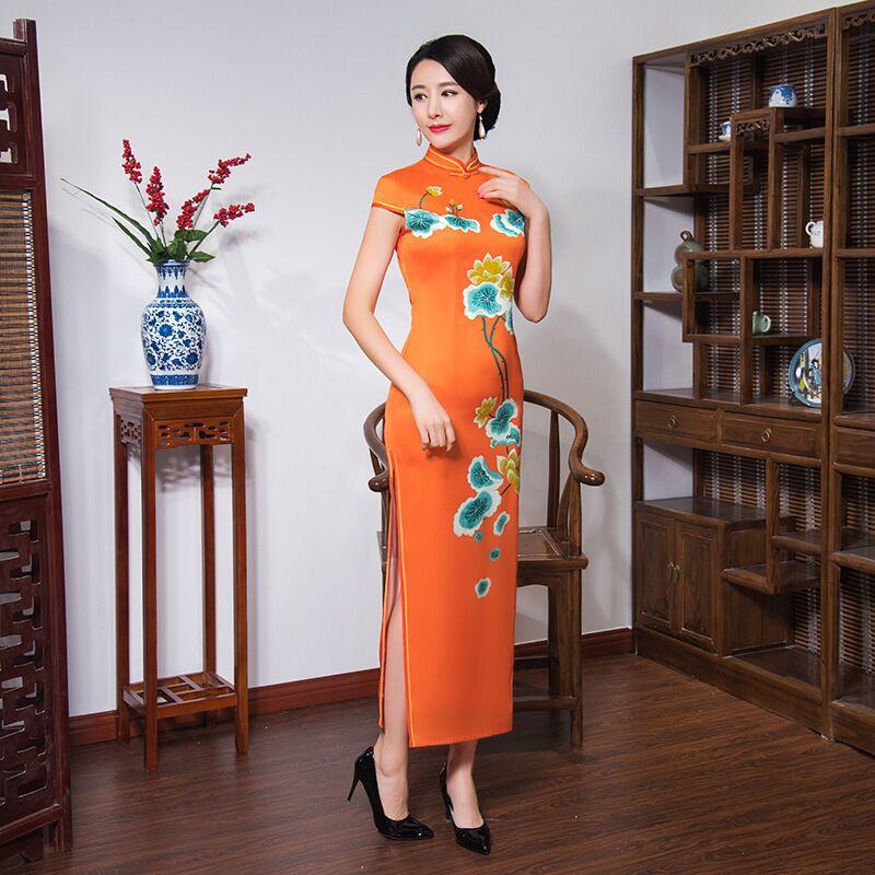 Fashion Orange Women's Long Cheongsam New Arrival Chinese Style Satin Dress Elegant Qipao Vestidos Size S M L XL XXL XXXL 548862 женское платье other 2015 o vestidos s m l xl xxl