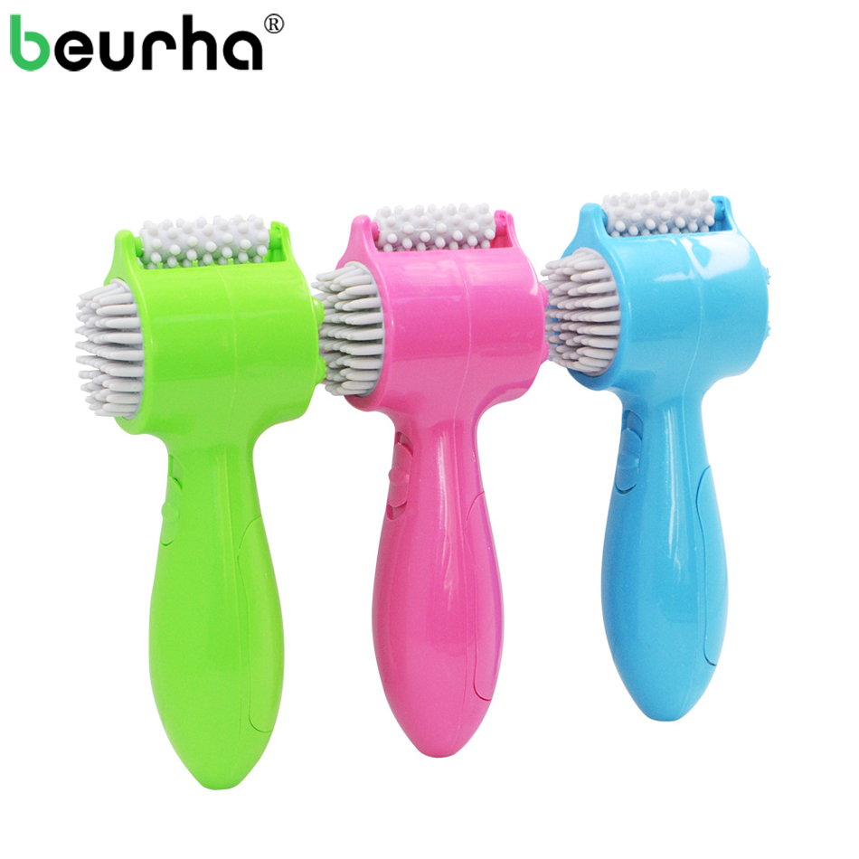 Beurha 4 in 1 USB MINI Massager Electric Vibrating Roller Wheel Tooth Comb Massage Body Back Neck Waist Hand Foot Face Massager electric antistress therapy rollers shiatsu kneading foot legs arms massager vibrator foot massage machine foot care device hot