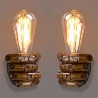 Newest E27 Retro Wall Light Resin Vintage Edison Left/Right Fist Bedroom Restaurant Aisle Cafe Bulbs Lamp Holder