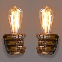 Newest E27 Retro Wall Light Resin Vintage Edison Left/Right Fist Bedroom Restaurant Aisle Cafe Bulbs Lamp Holder